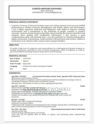 Human Resources CV   Hotel CVs for sale in Delta State, Warri