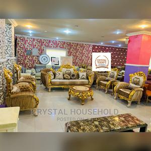 7 Seater Egyptian Gold Royal Sofa With Centre Table   Furniture for sale in Lagos State, Lekki