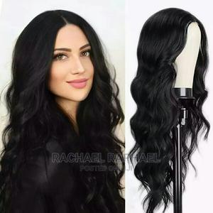 Big Wave Black Middle Part Curly Hair Wig - Black | Hair Beauty for sale in Lagos State, Ikorodu