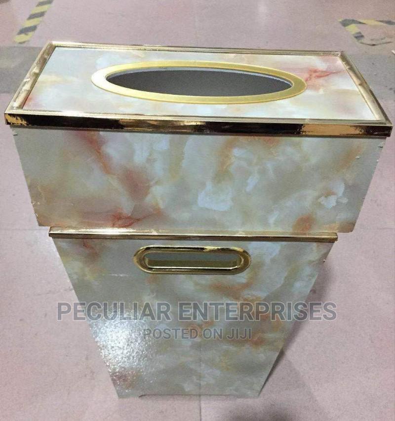 Wood Waste Bin and Tissue Box Set