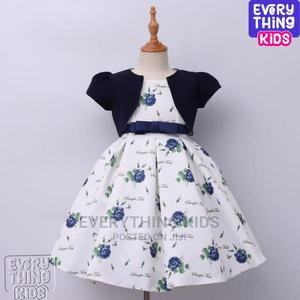 Cute Girls Jacketed Flowery Dress -Navy Blue | Children's Clothing for sale in Lagos State, Ikeja