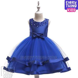 Girls Double Layered Peal Dress-Royal Blue | Children's Clothing for sale in Lagos State, Ikeja