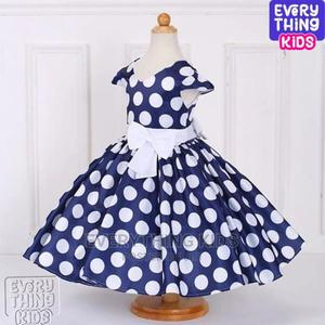 Girls Polkadot Dress With Bow Details-Navy Blue | Children's Clothing for sale in Lagos State, Ikeja