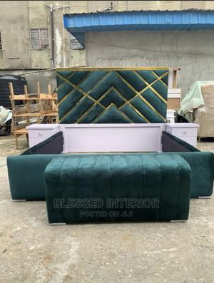 6by6 Upholstery Bed Frame With Footrest and Bedsides | Furniture for sale in Lagos State, Ikeja