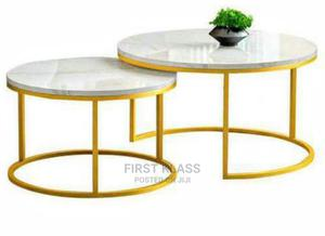 High Standard 2in1 Round Centre Table With Gold Steel Leg. | Furniture for sale in Lagos State, Ojo