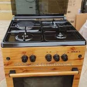 Maxi 3+1 Gas Cooker Wood 60/60 | Kitchen Appliances for sale in Lagos State, Ikeja