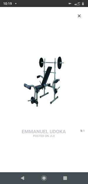 Standard Weight Bench With Chest Pull + 50kg Weight Set   Sports Equipment for sale in Lagos State, Alimosho