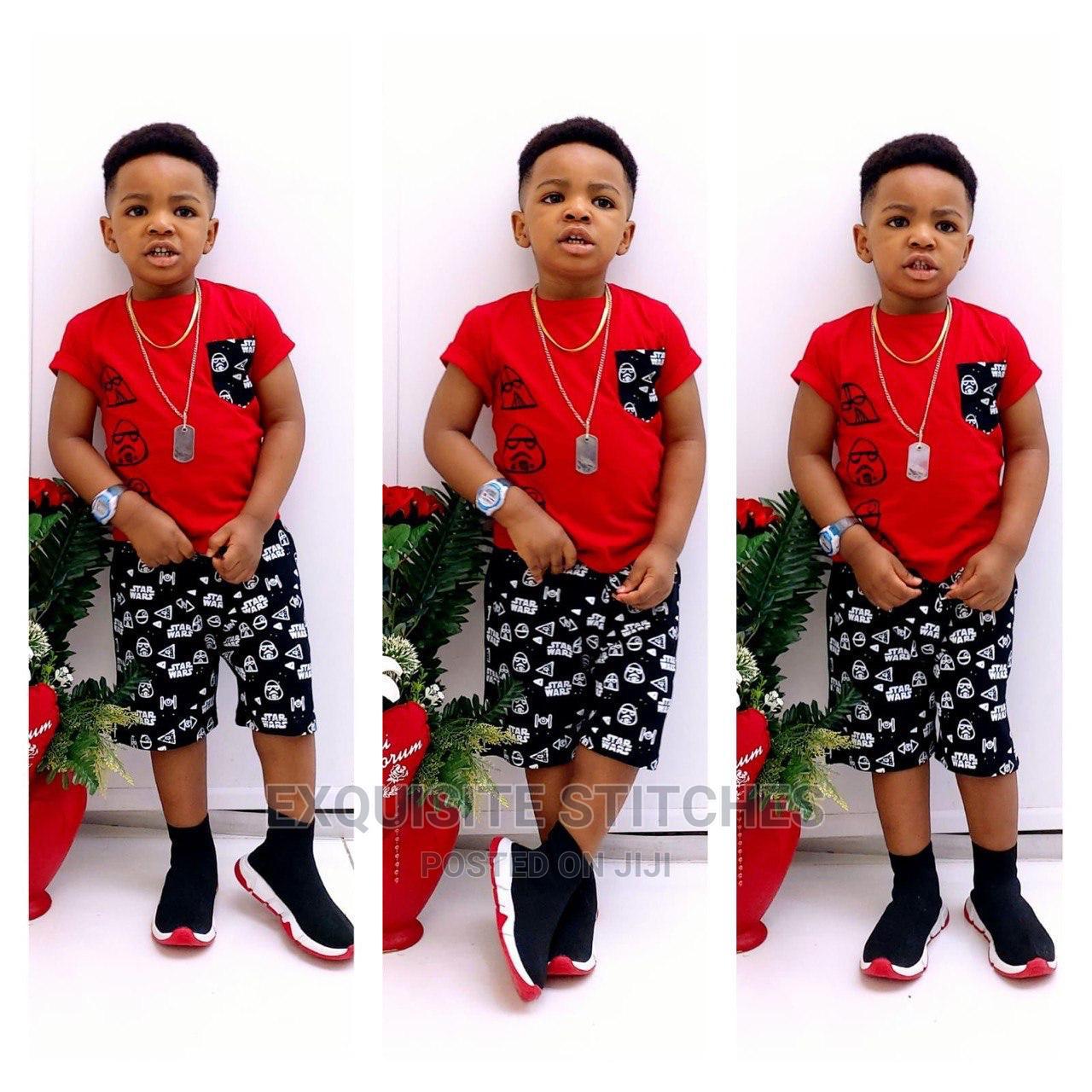Designer Children Wears-Cute Boys 2pcs Sleeveless Tshirt Set