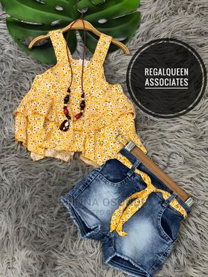 Yellow Sleeveless and Blue Jean Shorts | Children's Clothing for sale in Imo State, Owerri