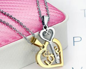 Love and Key Shaped Titanium Steel Couple Necklace.   Jewelry for sale in Lagos State, Ikorodu