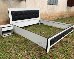 6 by 6 Upholstery Mdf Bed Frame With Bed Side   Furniture for sale in Oyo State, Ibadan