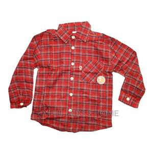 Boys Long Sleeve Shirt-Red and Black | Children's Clothing for sale in Lagos State, Ojota