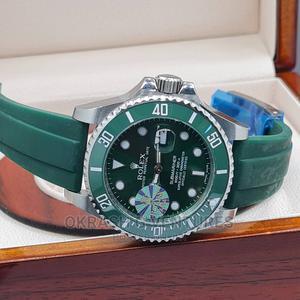 Rolex (SUBMARINER) Silver/Green Rubber Strap Watch | Watches for sale in Lagos State, Lagos Island (Eko)