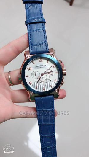 Montblanc Chronograph Rose Gold/Blue Leather Strap Watch | Watches for sale in Lagos State, Lagos Island (Eko)