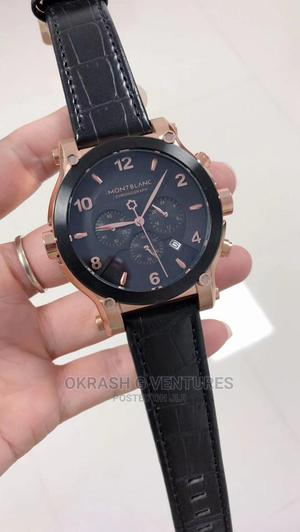 Montblanc Chronograph Rose Gold/Black Leather Strap Watch | Watches for sale in Lagos State, Lagos Island (Eko)