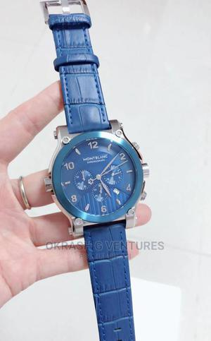 Montblanc Chronograph Silver/Blue Leather Strap Watch | Watches for sale in Lagos State, Lagos Island (Eko)