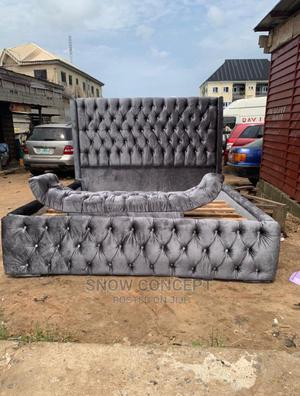 6by6 Upholstery Bedframe With Footrest   Furniture for sale in Lagos State, Lekki