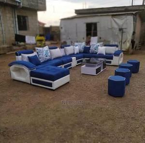 U - Shaped Fabric Sofa With Center Table and Ottoman | Furniture for sale in Lagos State, Ikeja