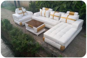 White L- Shaped Leather Sofa With a Single and Center Table   Furniture for sale in Lagos State, Ikeja