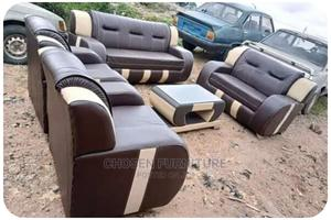Complete Set of Brown Leather Sofa With a Center Table   Furniture for sale in Lagos State, Ikeja