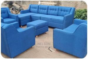 Complete Set of Blue Fabric Sofa With Center Table | Furniture for sale in Lagos State, Ikeja