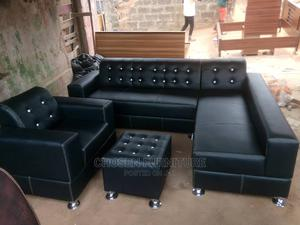 L Shape Leather Chair With Single and Ottoman. | Furniture for sale in Lagos State, Ikorodu