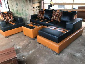 L- Shaped Leather Sofa With a Single Center Table | Furniture for sale in Lagos State, Ikeja
