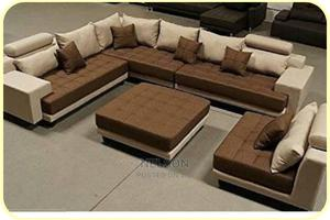 Brown L- Shaped Sofa With a Single Center Table | Furniture for sale in Lagos State, Ikeja