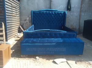6 by 6 Quality Blue Bed Frame ( Upholstery)With Ottoman | Furniture for sale in Lagos State, Ikeja