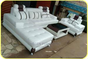 White L- Shaped Leather Sofa With Center Table   Furniture for sale in Lagos State, Ikeja