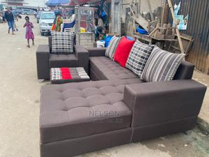 L- Shaped Fabric Sofa With a Single and Center Table | Furniture for sale in Lagos State, Ikeja