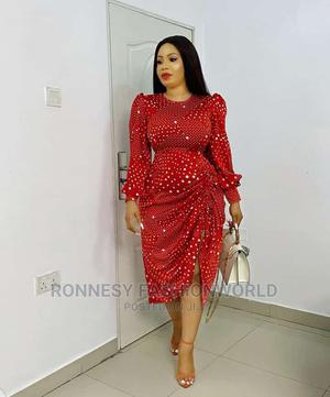 Trendy Female Quality Dotted Ruched Gown | Clothing for sale in Lagos State, Ikeja
