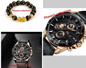 Men's Leather Wristwatch and Feng Shui Bracelet   Watches for sale in Lagos State, Alimosho