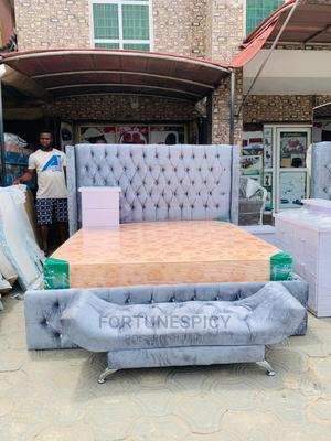 6 by 6 Upholstery Bed Frame With Spring Mattress | Furniture for sale in Lagos State, Lekki