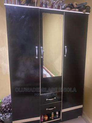 A Very Beautiful Black Wardrobe With Mirror | Furniture for sale in Lagos State, Abule Egba