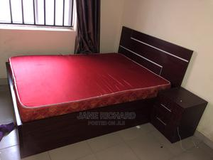 Classic Brown Wooden Bed Frame With Queen Size Mattress   Furniture for sale in Abuja (FCT) State, Kubwa