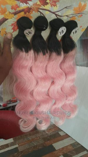 Brazilian Curly Wave Human Hair Colour 1b/Pink | Hair Beauty for sale in Lagos State, Ikeja