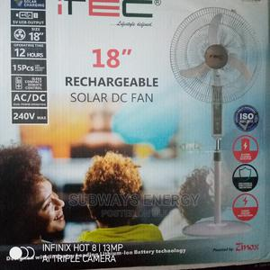 """18"""" Rechargeable Solar Fan With Inbuilt Lithium Battery. 
