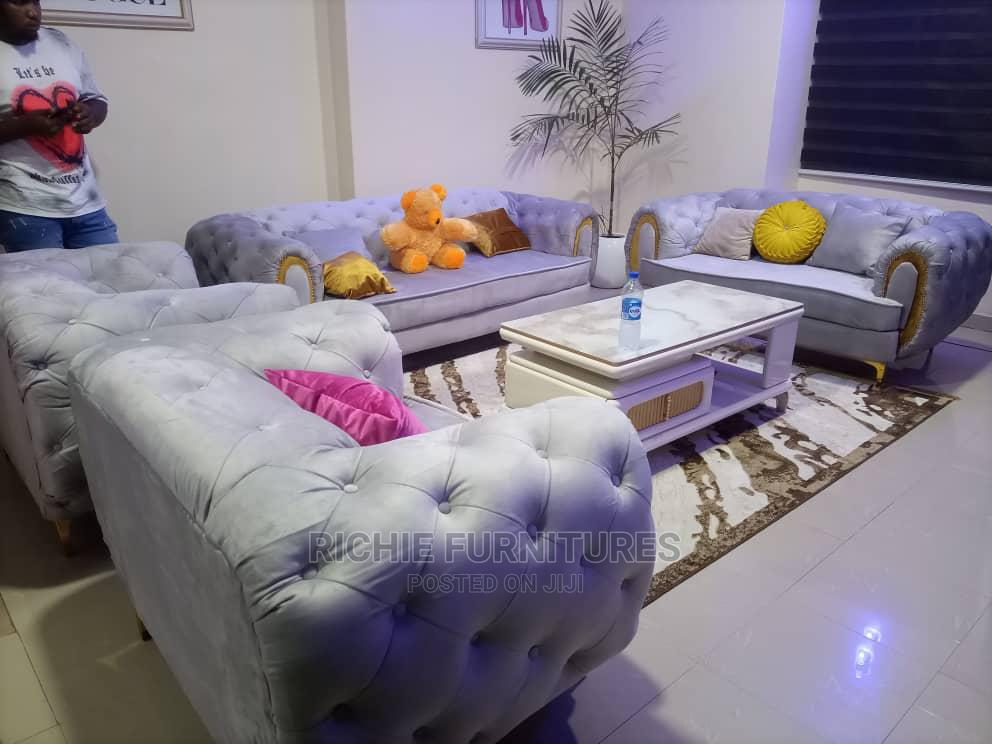 Beautifull Set Sofa With Throw Pillows and Teddy Bear.