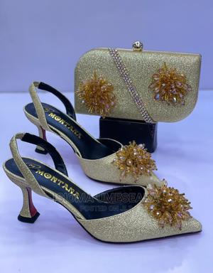 Set of Gold Shoe and Purse.   Shoes for sale in Lagos State, Ajah
