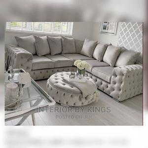 U-Shaped Fabric Sofa With an Ottoman Tufted to Perfection   Furniture for sale in Lagos State, Eko Atlantic