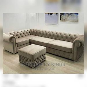 U-Shaped Chesterfield Sofa +An Ottoman Tufted to Perfection   Furniture for sale in Lagos State, Gbagada