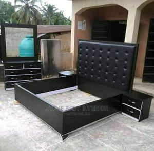 6/6 Leather Padded Bed Frame   Furniture for sale in Lagos State, Ojo