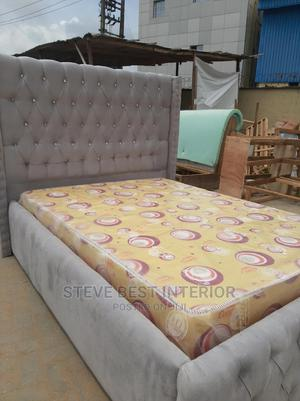 4/6 Upholstery Bed Frame With Original Mouka | Furniture for sale in Lagos State, Ojo