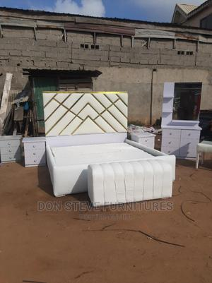 6/6 Padded Leather Bed Set   Furniture for sale in Lagos State, Ojo