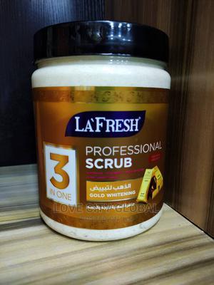 La'fresh 3in1 Gold Whitening Professional Scrub. 1000ml | Skin Care for sale in Lagos State, Amuwo-Odofin