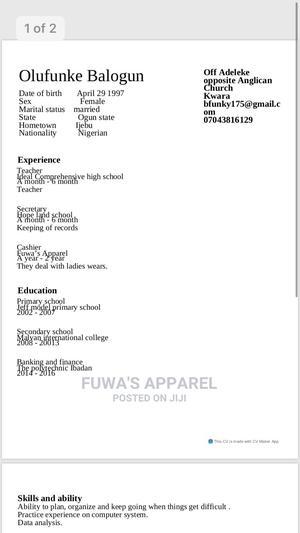 Sales Telemarketing CV   Sales & Telemarketing CVs for sale in Kwara State, Offa