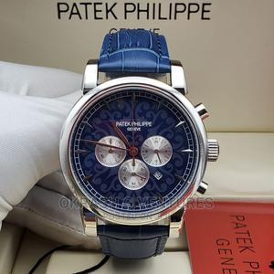 Patek Philippe Chronograph Silver Blue Leather Strap Watch | Watches for sale in Lagos State, Lagos Island (Eko)