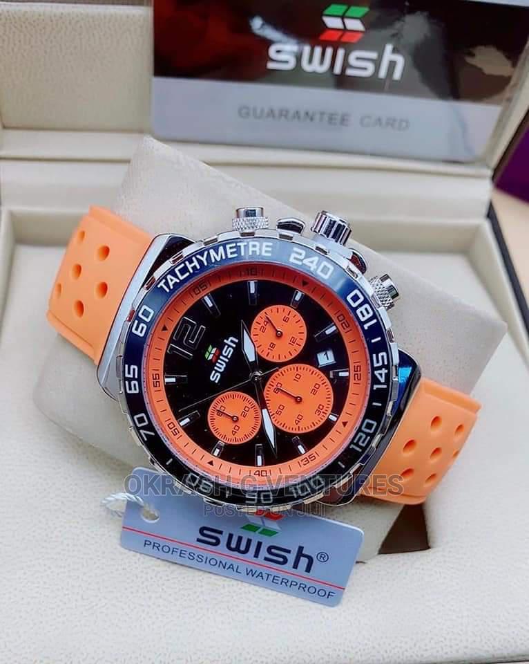 Swish Chronograph Silver/Black Orange Rubber Strap Watch