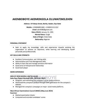Akinboboye Akinrinsola | Teaching CVs for sale in Oyo State, Ibadan